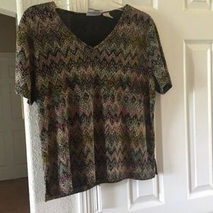 Alfred Dunner multi-colored short sleeve top PM